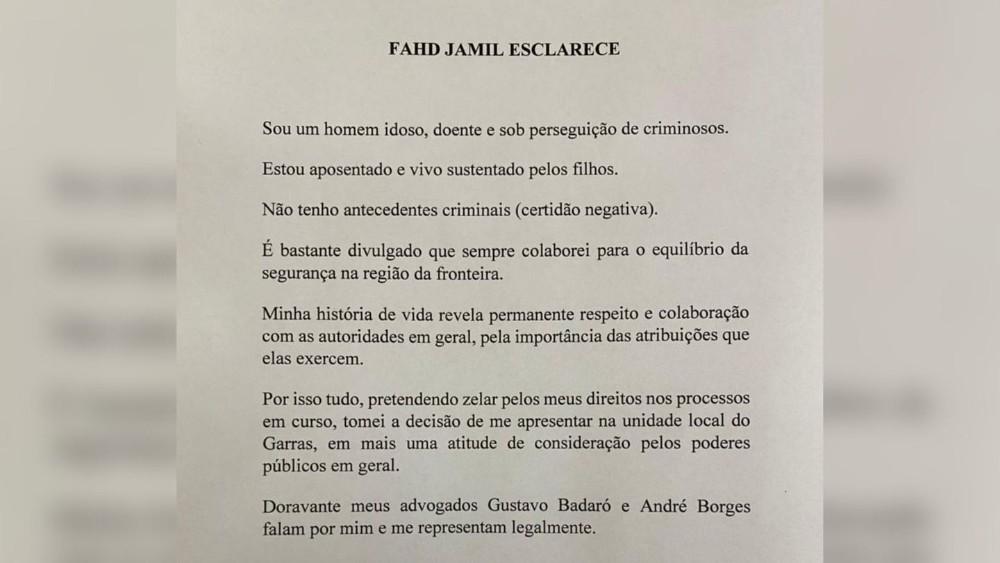 Carta de Fahd Jamil